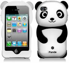 Cute Silicone Panda Case for iPhone 4 / 4S - Black