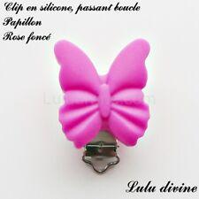 Pince / Clip en silicone, attache tétine, passant boucle, Papillon : Rose foncé