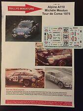 DECALS 1/43 ALPINE RENAULT A110 MOUTON TOUR DE CORSE 1975 RALLYE RALLY WRC