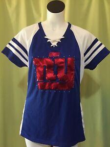 NY Giants Majestic Women's Blue Jersey Top Shirt Size Large Fan Fashion