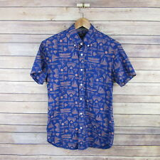 J.CREW Men's Slim Fit Short Sleeve Button Front Boat Print Shirt S Small Blue
