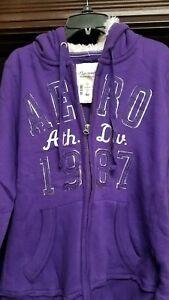 Aeropostale Purple Zip Front Hooded Size Large Sweatshirt