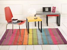Illusion Blockbuster Geometry Campari Flair Rugs Bright Coloured Funky Wool Rug Candy - Multi 120cm X 170cm