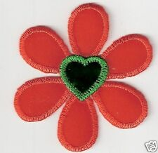 Orange Green Heart Flower Embroidery Patch