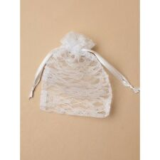 NEW 12 White lace drawstring favour bags wedding party confectionary 15x11cm
