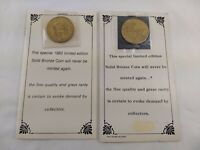 Solid Bronze Coins Limited Editions 1983 Great Smokey Mountains & 1984 Nashville