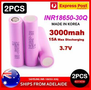 2X Samsung INR 18650-30Q 3000mAh 15A HIGH CURRENT Flat Top with Carry Box