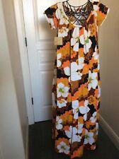 Fashions By Zacuto Bamboo Fashion Shop Flower Hawaiian Dress Size XS Barkcloth