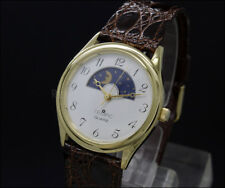 New Old Stock 32mm TEMPIC Day Night vintage quartz watch NOS ( moonphase style )