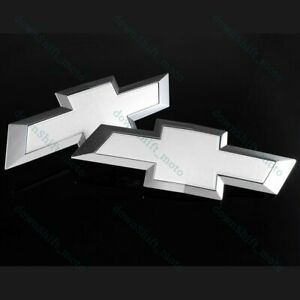 For 2014-2015 GM Chevy Chevrolet Silverado Front & Tailgate White Bow tie Emblem
