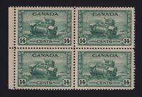 Canada Sc #259 (1943) 14c dull green Ram Tank Block of 4 Mint VF NH
