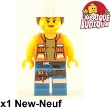 Lego Figurine Minifig city ouvrier worker chantier femme outil casque blanc NEUF