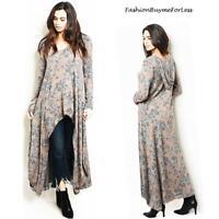 BOHO Blush & Gray English Floral Haute Hi-Lo Hem Hooded Maxi Tunic Top S M L XL