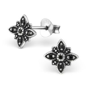 925 Sterling Silver Flower with Black Spinel Cubic Zirconia Stud Earrings