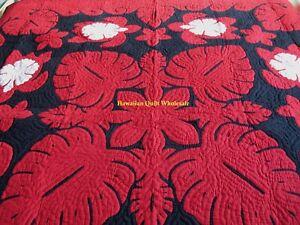 Hawaiian quilt wall hanging handmade 100% hand quilted/appliquéd Hibiscus Turtle