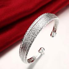 Womens 925 Sterling Silver Diamond-Cut Cuff Ball End Open Bangle Bracelet #B390
