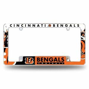 Cincinnati Bengals NFL Chrome Metal License Plate Frame with Full Frame Design