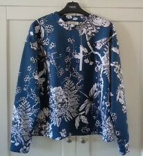 NEXT Ladies Floral White Teal Blue Scuba Top SIZE M 12-14 BNWT £25