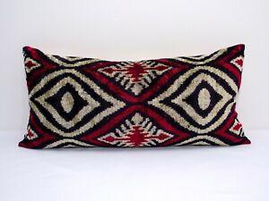 Gorgeous Silk Velvet ikat pillow cushion home decorative ikat sofa lumbar ikat