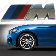 M SPORT Metal Logo Small 45 x 15 Side Wing Fender Chrome Front Decal Badge BMW