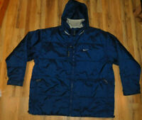 Nike Swoosh Logo Reversible Grey/Navy Jacket Hooded Winter Nylon/Poly XXL 2XL