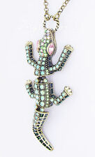 New listing Betsey Johnson Reptile Moving Crocodile Pendant Brass-Tone Long Necklace New