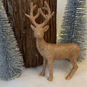 Glitter Copper Standing Reindeer Christmas Decoration Table Centre Gisela Graham