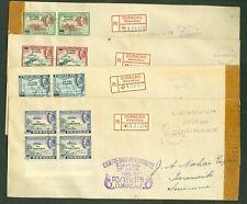 CURACAO FDC Luchtpost Censuur R-brief 01-12-1943 Krijgsgevangenen blokken van 4