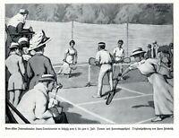 Lawn Tennis Turnier in Leipzig 1908 Kunstdruck Hans Friedrich Tennis Rasentennis