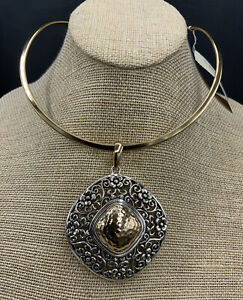 Barse Florabeth Collar Necklace- Sterling Silver & Bronze- New With Tags