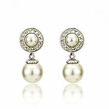 Wedding Collection Round Princess Design Pierced Ivory White Pearl Stud Earrings