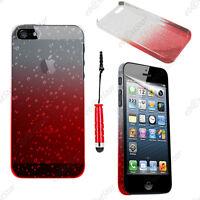 Housse Etui Coque Rigide Gouttelettes Rouge Apple iPhone SE 5S 5 + Mini Stylet