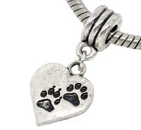 Dog Paw Print Heart Love Cat Pet Footprint Dangle Charm for European Bracelets