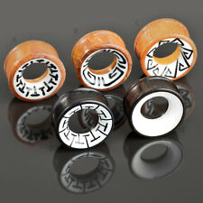 6-30mm Flesh Tunnel Plug Wood Tribal Inlay Ear Piercing Natural Jewelry Organic