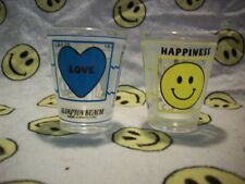 Lot of 2 Hampton Beach, NH Smiley Face Shot Glasses, Peace Love Happiness New