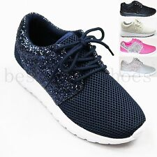 LADIES WOMEN GLITTER FLAT LACE UP PLIMSOLLS GYM PUMP RUNNING TRAINERS SHOES SIZE