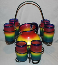 Mexican Blown Glass Pitcher 6 Glasses and Rack Set Serving Rainbow Colorful