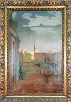 BALCONY LANDSCAPE. OIL ON CANVAS. SIGNED J. RIERA. TWENTIETH CENTURY.