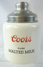 Coors Pure Malted Milk Vintage Depression Era Pottery Ceramic Crock with Tin Lid