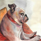 original painting 30 x 30 cm 409LM art samovar modern Watercolor animal dog