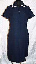 VINTAGE ROBERTA Lee Original Vestido Mujer poliéster azul marino a Medida Cuello