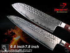 "Japanese Damascus Steel Chef's 7.8"" and Santoku 6.8"" Knife Full-Tan Handmade"