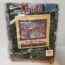 """Dept 56 Dickens Village Christmas Afghan Woven Throw Blanket 50"""" x 68"""" NEW"""