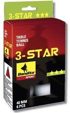 6 Table Tennis Balls Bandito 3 Star, Tournament Size, New