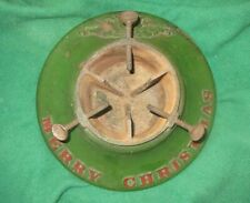 "Vintage Cast Iron Christmas Tree Stand with ""Merry Christmas"" Embossed"