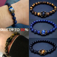 Unisex Natural Stone Bracelet Stretch Beads Crown Bangle Fashion Jewellery Gift