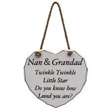 Shabby Chic Nan & Grandad Heart Wooden Door Plaque Sign