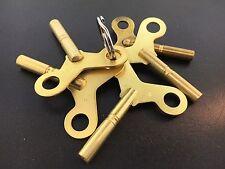 Solid Brass Long Shaft Winding Clock Key Set of 5