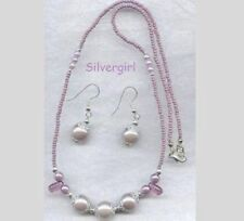 Pretty Pearly Purple Beaded Necklace Earring Set