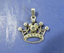 Disney World Princess Crown Silver-tone Necklace Pendant w/ Swarovski Crystals